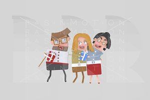 3d illustration. Family with gift
