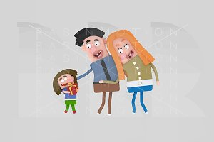 3d illustration. Family with gift.