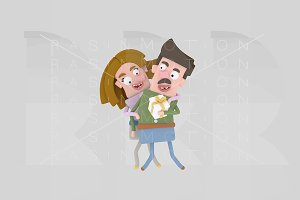 3d illustration. Happy couple.