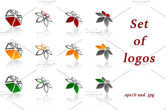 Set of colorful geometric logos