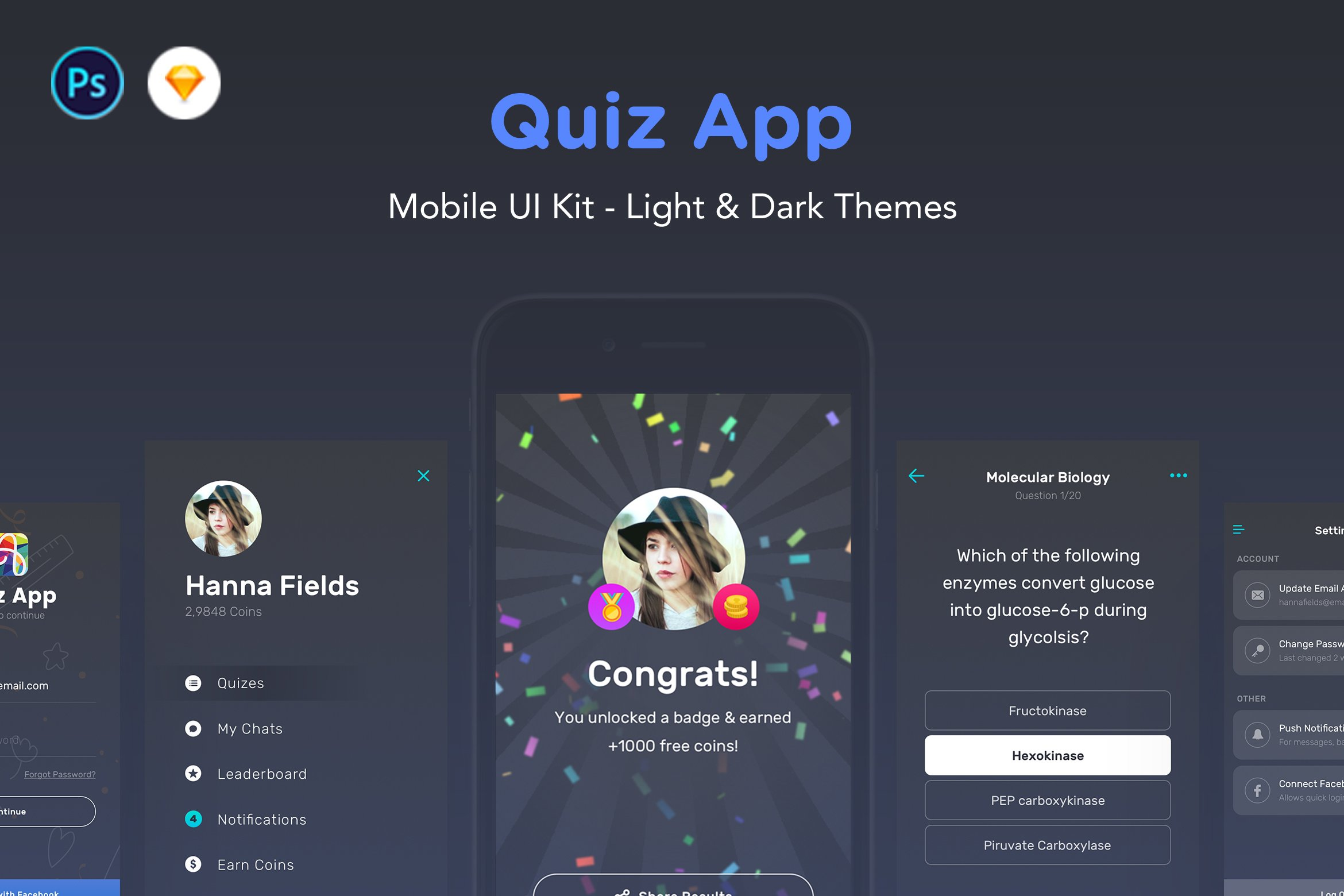 Quiz App - Mobile Trivia Game UI Kit ~ Web Elements ~ Creative Market
