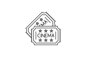 Cinema ticket line icon