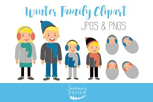 Blonde Winter Family Clipart