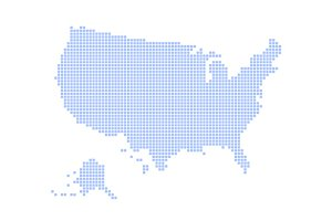 Blue Dotted USA Map