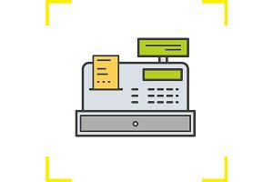 Cash register icon. Vector