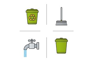 Cleaning service. 4 icons. Vector
