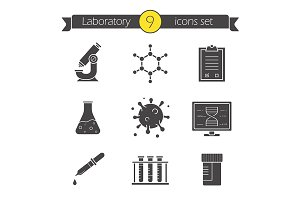 Science laboratory. 9 icons. Vector
