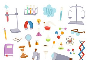 Science lab icons education design