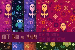 Pandas and owls seamless patterns