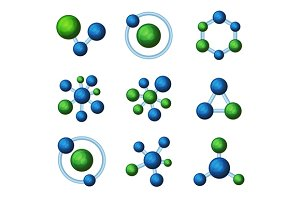 Blue and Green Molecules Icon Set