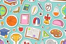 School icon flat seamless pattern