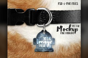 Hydrant shaped pet tag mockup