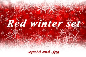 Red winter backgrounds and banners