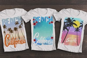 Beach whith palm trees t-shirt set