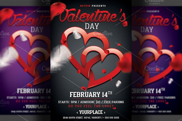 Valentines Day Party Flyer Template in Flyer Templates - product preview 1