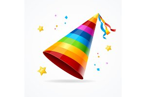 Party Hat with a Rainbow Pattern