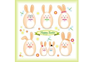 Cute easter bunny family