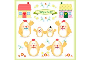 Cute Easter chicken family