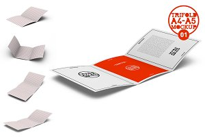 A4 / A5 Tri-Fold Brochure Mock-Up01
