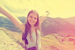 Happy teenage girl feel freedom.