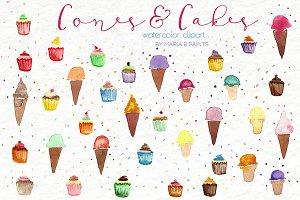 Watercolor Clip Art - Cones, Cupcake