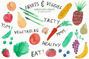 Watercolor Clip Art - Fruit, Veggies