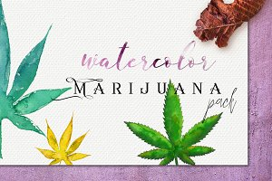 Watercolor Marijuana Pack:47elements