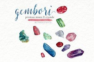 Watercolor Clip Art - Precious Gems