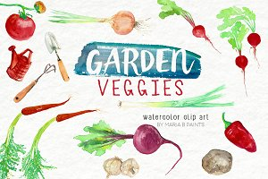 Watercolor Clip Art - Garden Veggies