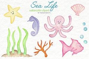 Watercolor Clip Art - Baby Sea Life