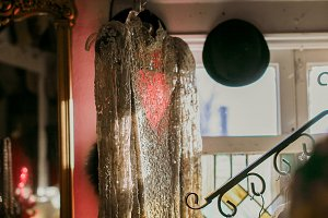 Vintage Beaded Dress Against Window