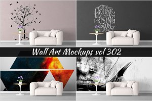Wall Mockup - Sticker Mockup Vol 302