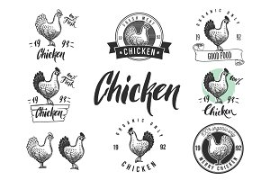 Chicken logotypes set
