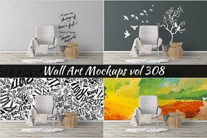 Wall Mockup - Sticker Mockup Vol 308