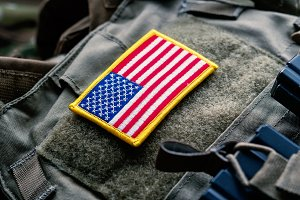 United States flag on the tactical bulletproof vest