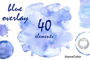 Blue overlay watercolor clipart