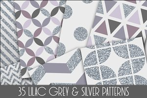 Silver Foil and Lilac Patterns Set