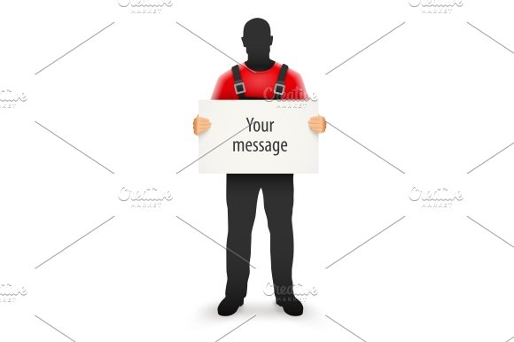 Worker Man With Blank Sign For Message In Hands