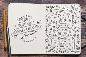 200 Vector Hand Drawn Elements