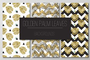 Golden palm leaves seamless patterns