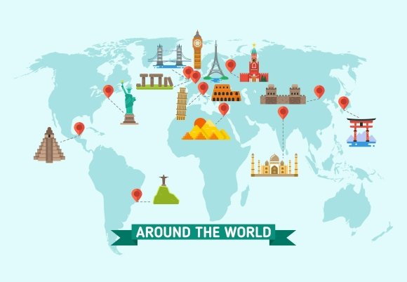 Travel Landmarks On World Map