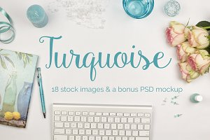 Turquoise - 18 stock images + a PSD