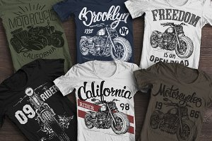 Motorcycles T-shirt graphics set