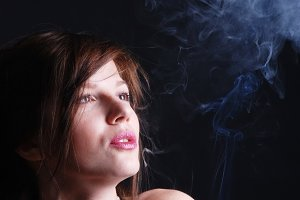 woman and smoke