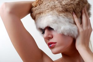 model dressed in a fur hat