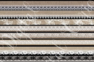 Burlap and Lace Digital Washi Tape