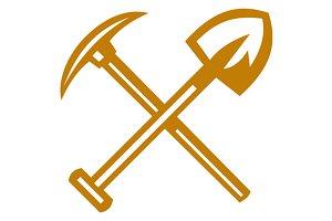 Pick Axe Shovel Crossed Retro