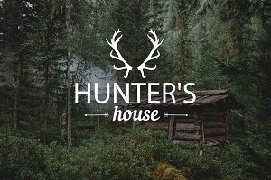 Hunter's house in forest. Photo Pack