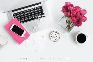 Styled Desktop, Iphone Mockup Pink