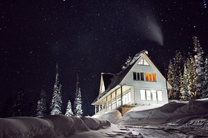 Night amazing winter snow house